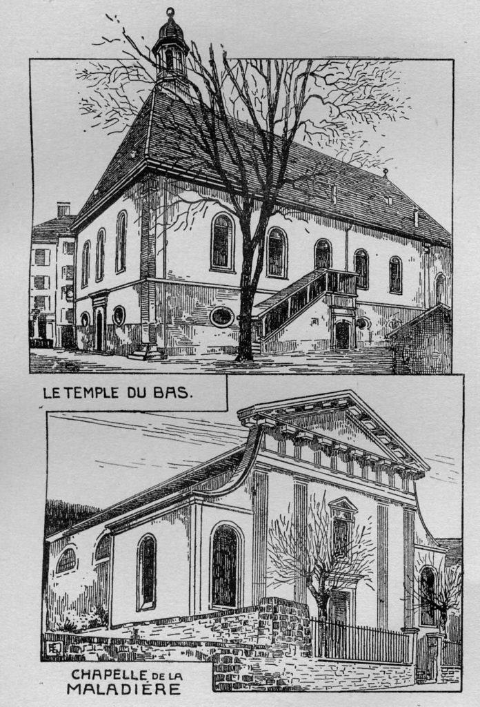 Temple du Bas et chapelle de La Maladière